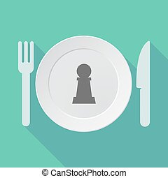 Long shadow tableware with a  pawn chess figure