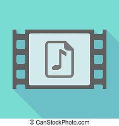 Long shadow film frame with a music score icon -...