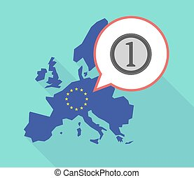 Map of the EU map with a coin icon - Illustration of a long...