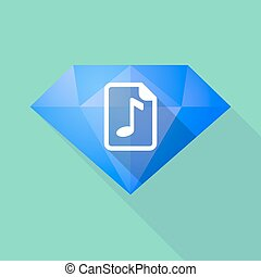 Long shadow diamond with a music score icon - Illustration...