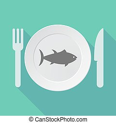 Long shadow tableware with  a tuna fish
