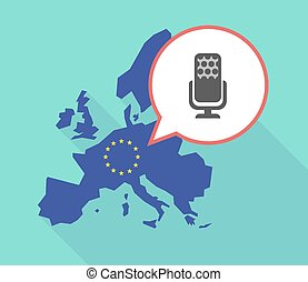 Map of the EU map with  a microphone sign