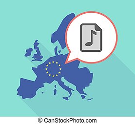 Map of the EU map with a music score icon - Illustration of...