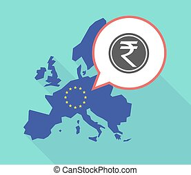 Map of the EU map with a rupee coin icon - Illustration of a...