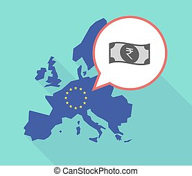 Map of the EU map with a rupee bank note icon - Illustration...