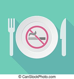 Long shadow tableware with a no smoking sign - Illustration...