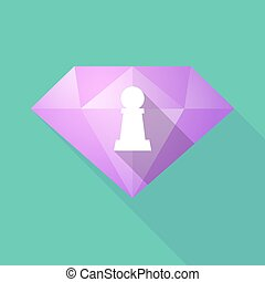 Long shadow  diamond with a  pawn chess figure