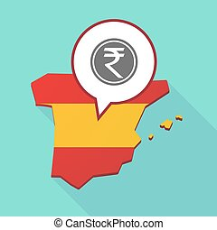 Map of Spain with a rupee coin icon - Illustration of a long...