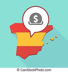 Map of Spain with a dollar coin entering in a moneybox -...