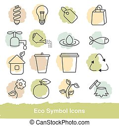 Set of eco line icons. Collection eco design elements. Green...