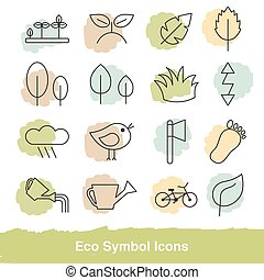 Set of eco line icons