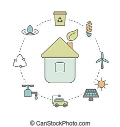 Ecology illustration with eco icons. Eco house and green...