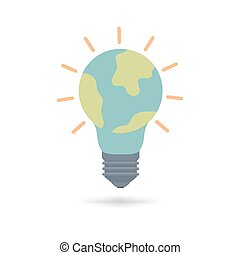 Bulb light with earth planet icon