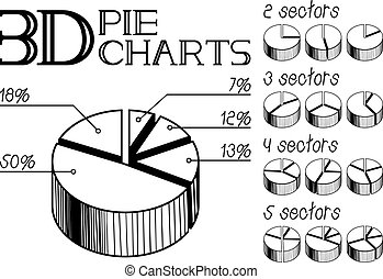3d pie charts - Vector illustration of 3d pie charts with...