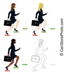 Set Cute Business Woman holding a Brief Case while Running...