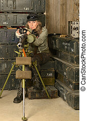 Armed combat soldier woman - Portrait of armed combat...