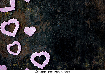 Valentines day frame - board of purple hearts.