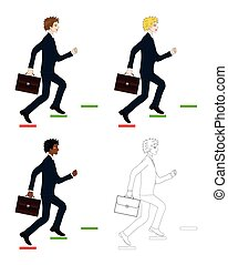 Set Handsome Business Man holding a Brief Case while Running...