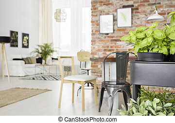 Dining room with herbs cart