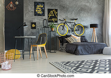 Student room with bed - Grey student room with bed, desk,...