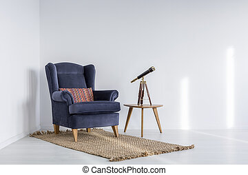 White interior with armchair - White interior with blue...