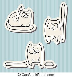 Funny cats - Paper cut hand drawn sketches of funny cats...