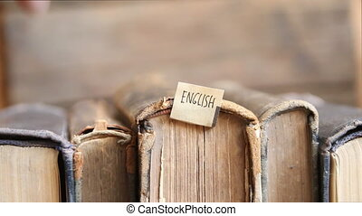 Learning english retro concept, tag and vintage books. -...