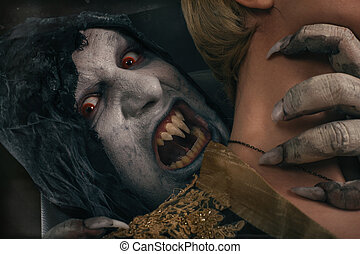 Scary vampire devil biting young woman. Medieval gothic nightmare horror.