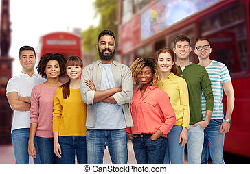 international group of happy people in london - travel,...