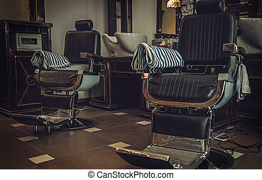 Professional barber shop vintage interior.
