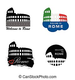 Colosseum Rome sign vector illustration four different...