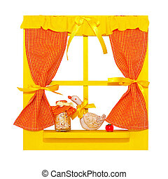 Window - Small yellow window isolated included clipping path...