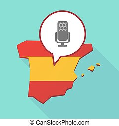 Map of Spain with  a microphone sign