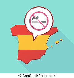 Map of Spain with a no smoking sign - Illustration of a long...