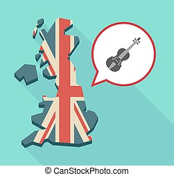 Map of UK with  a violin