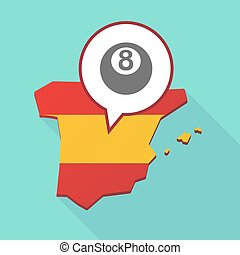 Map of Spain with  a pool ball