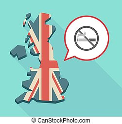 Map of UK with a no smoking sign - Illustration of a long...