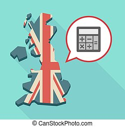 Map of UK with  a calculator