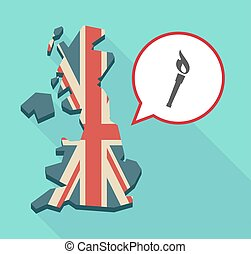 Map of UK with  a torch icon