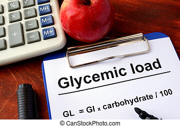Glycemic load - Paper with title Glycemic load and formula.