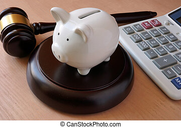 Piggy bank, gavel and calculator. - Piggy bank, gavel and...