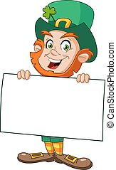 Leprechaun with sign - Leprechaun carrying a blank sign