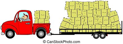Man driving a truck and trailer loaded with hay