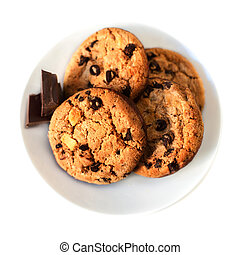 Chocolate chip cookies macro isolated on white background....
