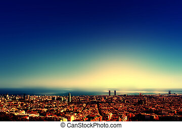 City bird view after sunset , Barcelona beautiful cityscape