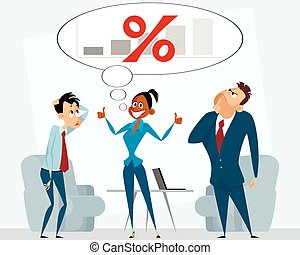 Business team in office - Vector illustration of a business...