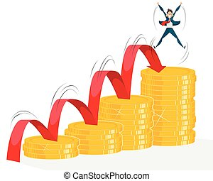 Growth of income in business - Vector illustration of a...