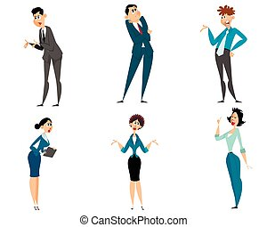 Six businessmen set - Vector illustration of a six...