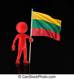 Man and Lithuanian flag. Image with clipping path