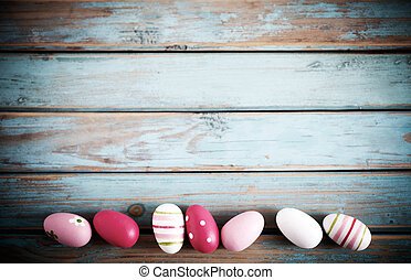Easter egg background - Easter egg decorations on wooden...